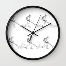Gardener With Leaf Blower Walk Sequence Drawing Wall Clock