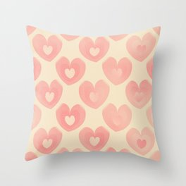 Pink Heart Pattern on Pastel Yellow Throw Pillow