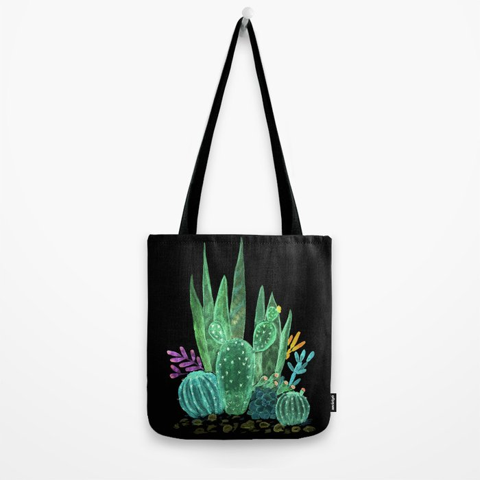 Cacti and succulents on a black background. Tote Bag