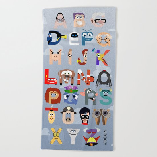 P is for Pixar (Pixar Alphabet) Beach Towel