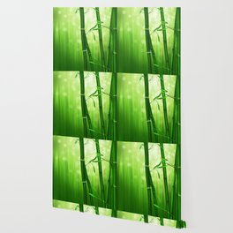 Bamboo Stalks with a Green Bokeh Background Wallpaper