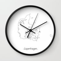 copenhagen Wall Clocks featuring Capital: Copenhagen by NordMilk