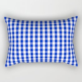 Cobalt Blue and White Gingham Check Plaid Squared Pattern Rectangular Pillow