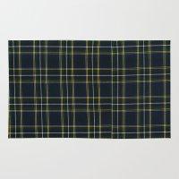 craftberrybush Area & Throw Rugs featuring Blue Tartan pattern  by craftberrybush