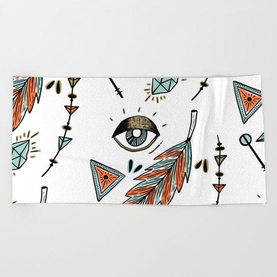 Boho eyes & feathers Beach Towel