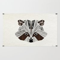 rocket raccoon Area & Throw Rugs featuring raccoon! by Manoou