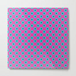 Hot Pink Blue Daisies Metal Print