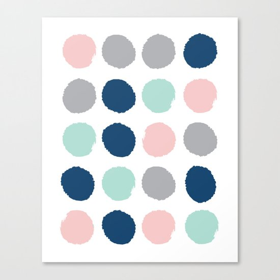 Zanthe - abstract trendy dots polka dots painted dot pattern blue pink pastel pantone color of the  Canvas Print