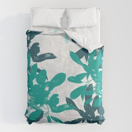 Tropical Turquoise Leaves Comforters