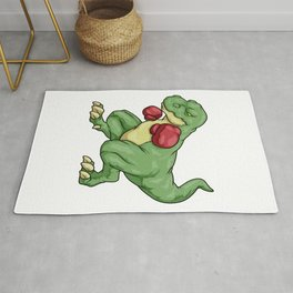 Dinosaurs as boxers with boxing gloves Rug