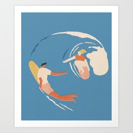 Wave lovers Art Print