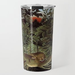 THE HUNGRY LION ATTACKING AN ANTELOPE - ROUSSEAU Travel Mug
