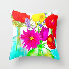 Three Bottles with Flowers Throw Pillow