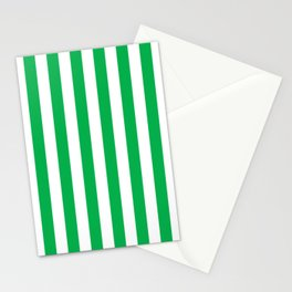 Vertical Green Stripes Stationery Cards