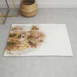 Highland Cow Watercolor Rug