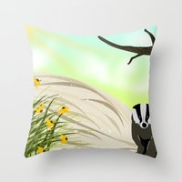 badger Throw Pillows featuring Badger by TailorMade:ART
