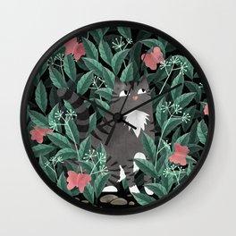 Butterfly Garden (Tabby Cat Version) Wall Clock