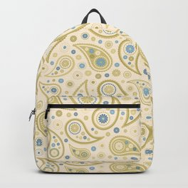 Paisley Funky Design Cream Golds Blues Backpack