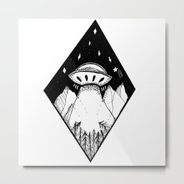 Spaceship in the mountains Metal Print