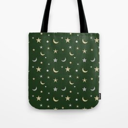 Gold and silver moon and star pattern on green background Tote Bag