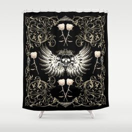 Skull Wings & White Roses Shower Curtain