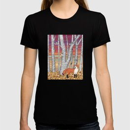 nuthatches and fox in the birch forest T-shirt