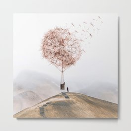 Flying Dandelion Metal Print