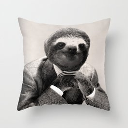 Gentleman Sloth #3 Throw Pillow