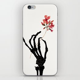 Skeleton Hand with Flower iPhone Skin