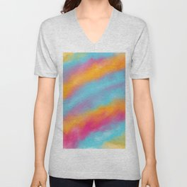 Abstract colorful rainbow watercolor brushstrokes Unisex V-Neck