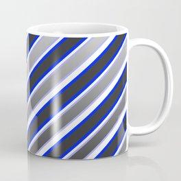 TEAM COLORS 1...Black, gray, white, blue diagonal stripe Coffee Mug