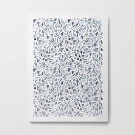 Grey Watercolour Terrazzo Metal Print