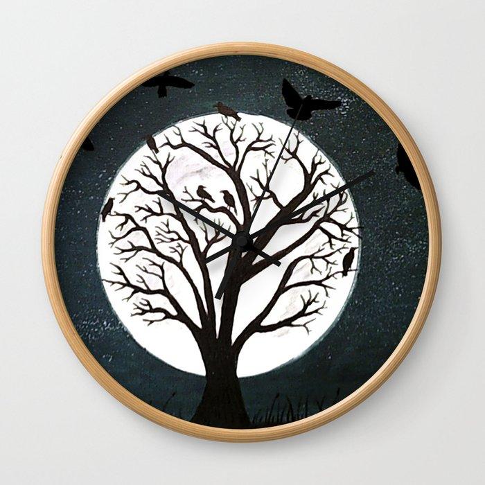 Peaceful Moon Night Gathering Wall Clock