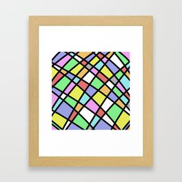 Crazy Pastel Paving - Abstract, pastel coloured mosaic paved pattern Framed Art Print