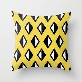 Diamond Pattern Yellow Throw Pillow