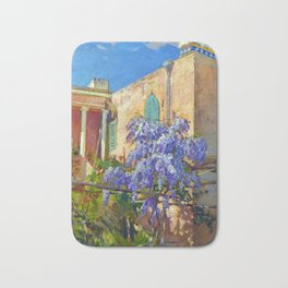 Constantin Alexandrovitch Westchiloff A House with Flowering Trees along the Amalfi Coast of Italy Bath Mat