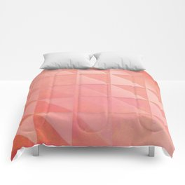 pink coral peach minimal geometric pattern with fading triangle stexture Comforters