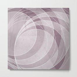 Orbiting Circle Design in Musk Mauve Metal Print