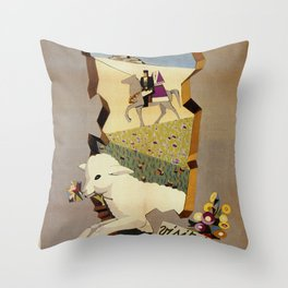 Visit Sardinia vintage Italian travel ad Throw Pillow