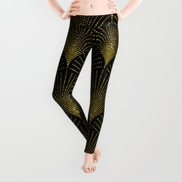 Back and gold art-deco geometric pattern Leggings