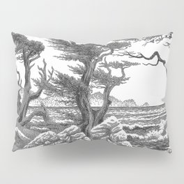 MONTEREY CYPRESS AND POINT LOBOS PEN DRAWING IN CROSSHATCH Pillow Sham