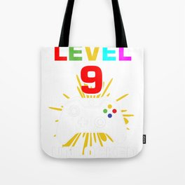 Level 9 Unlocked 9Th Birthday Shirt For Boys Gamer 1999 Tote Bag