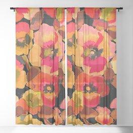 peach  floral Sheer Curtain