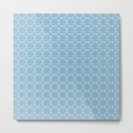 Soft Blue Geometric Pattern with Circles & Squares Metal Print