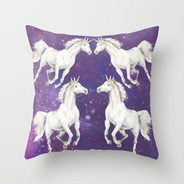 Unicorn in a starry sky Throw Pillow