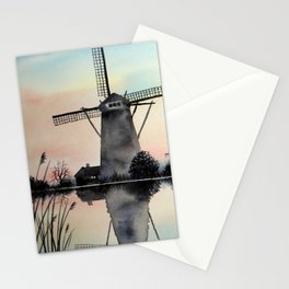 Windmills at dawn Stationery Cards