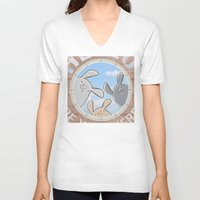 bunnies V-neck T-shirts featuring Sweet bunnies by Artemio Studio