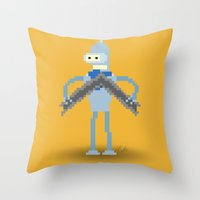 bender Throw Pillows featuring Pixel Bender by Paul Scott (Dracula is Still a Threat)