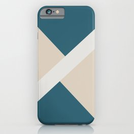 Beige Aqua Blue White Stripe Offset Shape Design 2021 Color of the Year Uptown Ecru & Accent Shade iPhone Case