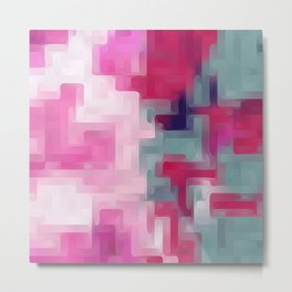 pink red and green painting abstract background Metal Print
